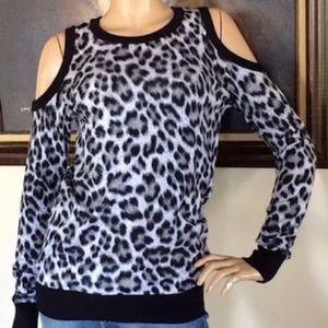 Michael Kors Leopard Long Sleeve Open Shoulder Top